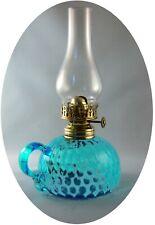 RARE Antique Caribbean Blue Opalescent Hobbs Finger/Hand Mini Oil Lamp, S2-117
