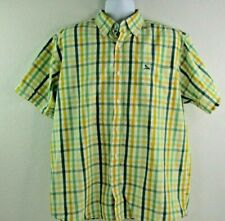 Drunknmunky Mens XL Shirt Button Front Short Sleeve Yellow, Green (I-1)