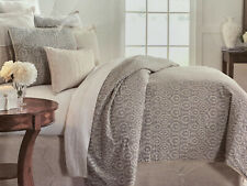 Southern Living Full Queen Mini Coverlet Set Gray Cream Taupe Neville New