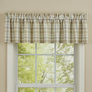 """In The Meadow Cream Tan Grey Plaid Country Farmhouse Cotton Valance 72"""" x14"""""""