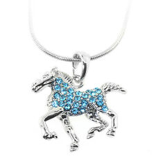 """Stunning Silver Color Horse Pendant with Blue Crystals and 16"""" Snake Chain"""
