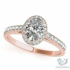 2.5ct Oval Halo Engagement Ring Solid 14kt W/G Swarovski CZ Love Gift