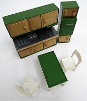 Puppen Möbel Frade der 70iger Jahre aus Italien 4teilig-Kunststoff+Holz-Küche
