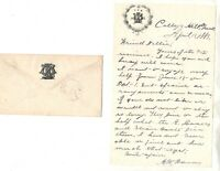VINTAGE TUFTS COLLEGE 1883,LETTERHEAD + MATCHING COVER FROM FRATERNITY,RARE!