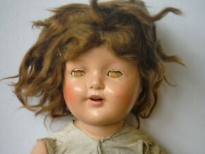 """Antique Vintage Large Doll 24"""" Composition Girl with Sleep Eyes & Wig P1416"""