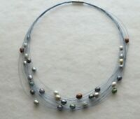 """16/"""" 50-STRAND STAINLESS STEEL WIRE NECKLACE with STERLING SILVER CLASP 1pc"""