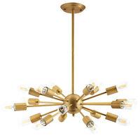 Brass Starburst Pendant Chandelier Light Fixture Spherical Mid Century Modern