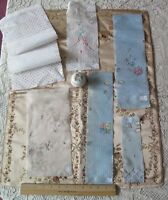 Collection of 6 Antique Swiss Hand Embroidered Cotton Floral Samples~Dolls