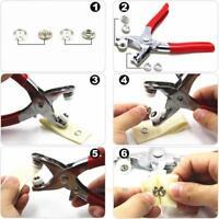 100sets Metal Prong Snap Buttons + Plier Installation Fastener Press Stud Tool