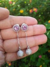 Natural AMETHYST & White CZ Stones 925 Silver Dangling 2 in 1 EARRINGS