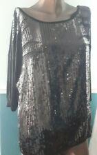 Black Oversized Sequin T Shirt Top Size L ( 16-18 )