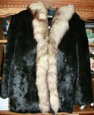 Vintage Medium Black Rabbit & Fox Collar Fur Coat EXCELLENT CONDITION