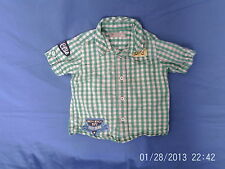 Boys 2-3 Years - Green/White Check Short Sleeve Shirt with Motifs - M&S