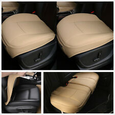 3Pc Luxury Beige PU Leather Car Front Rear Seat Protector Seat Cover Mat Cushion