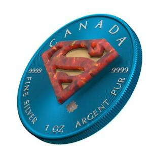 Canada 2016 5$ Superman Space Blue 1 Oz Silver Coin with Real OPAL Stone