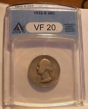 1932 S WASHINGTON QUARTER DOLLAR ANACS VF 20