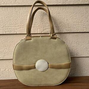 Berne Vintage Handbag Purse Bag Beige Leather Round Retro Mid Century