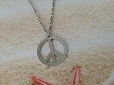HIPPIE UNISEX STAINLESS STEEL PEACE SIGN CHARM PLATED CHAIN PENDANT JEWELLERY