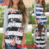 US Womens Loose Tops Floral T Shirt Casual 3/4 Sleeve Crew Neck Blouse Plus Size