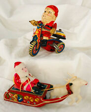 2 vtg Christmas Santa Claus Litho Tin Metal Toy Tricycle Wind Up Friction sleigh
