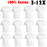 3-12 Pack Mens 100% Cotton Tagless Crew-Neck T-Shirt Undershirt Tee White S-XL
