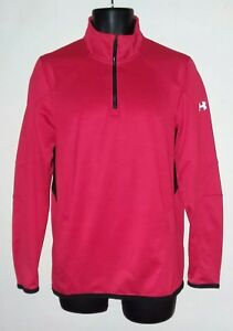 Under Armour Fitted Coldgear Reactor 1/4 Zip Shirt Mens Size S Red Black Small