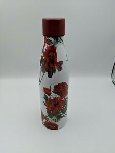 """Heritage Water Bottle Red Flowers Roses 10"""" x 3"""""""