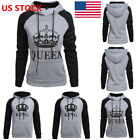 US Women Men Couple King Queen Hoodies Jumper Sweater Tops Sweatshirts Pullover