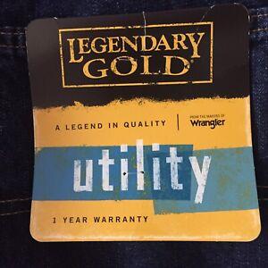 WRANGLER Utility Jeans Legendary Gold Adj Waist Size 16 Husky Dark Blue New