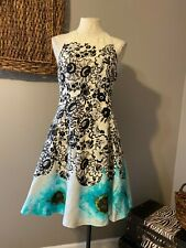 Tracy Reese Fit & Flare Skirt Linen Floral Dress Cream Blue Black 4 S Small