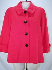 Dialogue Pink Coral 3/4 Sleeve Collared Button Jacket Womens Size Large 12 14