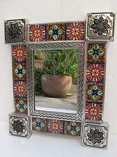 PUNCHED TIN MIRROR  mixed talavera tile,  hand made mexican mirrors folk art