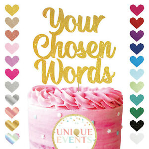 Custom Personalised Glitter Cake Topper Party Decoration Birthday Any Name Word