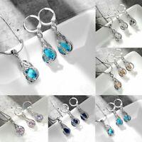 Women Crystal Waterdrop Drop Dangle Tassel Necklace Earrings Wedding Jewelry Set