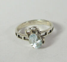 Size 8 Blue Topaz Ring Size 8.5 March Birthstone .925 Sterling Silver Solitaire