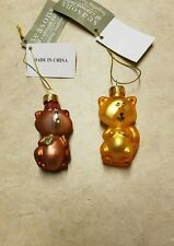 Blown Glass Squirrel and Bear Duo Ornaments Midwest Cbk
