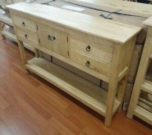 Franky Rustic Hamptons coastal boho narrow slim thin hall table console 120cm