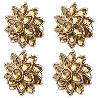 Fancy Golden Flower Mandala w/ Crystals Napkin Rings For Dinner Table Set of 4