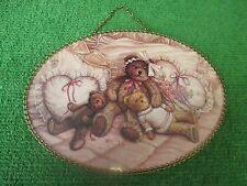 "Teddy bear family flue cover by Janet Kruskamp, oval, 8 1/2"" x 11 1/4"""