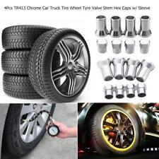 4pcs TR413 Chrome Car Truck Tire Wheel Tyre Valve Stem Hex Caps w/ Sleeve Covers
