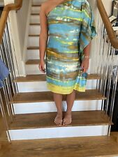 Calvin Klein Ladies One Shoulder Size 6 Multi Color Dress