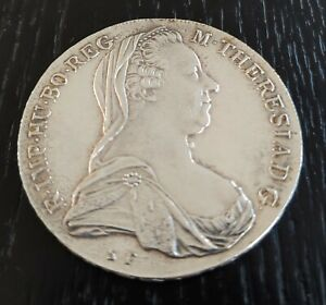 1780 AUSTRIA SILVER MARIA THERESA RESTRIKE THALER CROWN BRILLIANT UNCIRCULATED