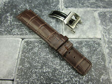 20mm Brown Grain Leather Strap Deployment Buckle Watch Band SET TOP GUN PILOT X