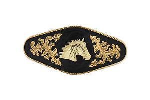 Men Women Buckle Metal Cowboy Western Fashion Gold Horse Rodeo Black Long Heavy