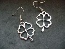 Tibetan Silver Four Leaf Clover Earrings