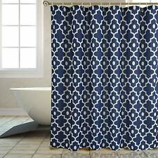 "Extra Long 84"" Geometric Cute Navy Farmhouse Textured Fabric Shower Curtain"