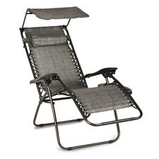 Gray Folding Recliner Zero Gravity Lounge Chair With Shade Canopy &Cup Holder