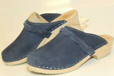 Sweden Hand Made Womens Size 40 10 Blue Suede Euro Clogs Shoes Classic Mules