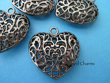 PACK OF 3 BLACK/GUNMETAL HEART PENDANTS CHARMS 35mm  JEWELLERY MAKING (A1)
