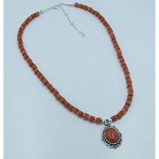 .925 Sterling Silver RARE Natural Orange Sponge Coral Necklace with Pendant